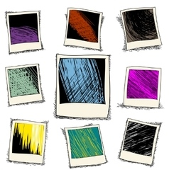 set retro photo frame in doodle style vector image