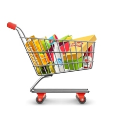 Shopping supermarket cart with grocery pictograph vector