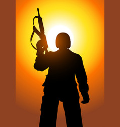 Silhouette a soldier vector