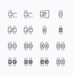 Smart watch icons flat mono line design vector
