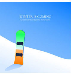 snowboard stay in snow on mountain on blue sky vector image