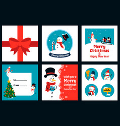 snowman greeting card new year posters with vector image