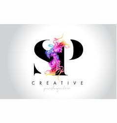 Sp vibrant creative leter logo design vector