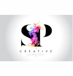 Sp vibrant creative leter logo design with vector
