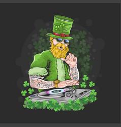 st patricks day dj night party tattoo artwork ve vector image
