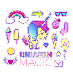stickers set with unicorn rainbow star comet vector image