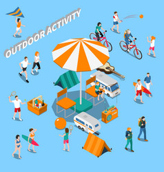 summer outdoor activity people composition vector image