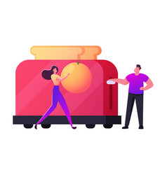 tiny male and female characters cooking breakfast vector image