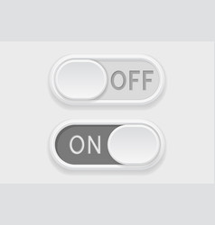 toggle switch buttons on and off gray buttons vector image