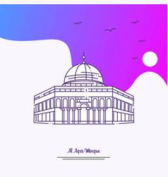 Travel al aqsa mosque poster template purple vector