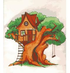 Tree house house on for kids children vector