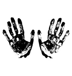 Two Black Art Hand Prints grunge vector image