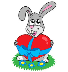 valentine rabbit with heart vector image