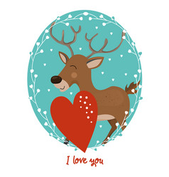 valentines day card with deer vector image