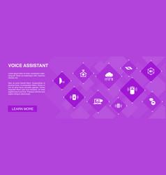 Voice assistant banner 10 icons conceptsmart home vector