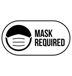 wear mask required sign logo facemask vector image