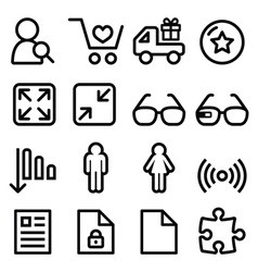 Web menu navigation line icons set - shopping vector