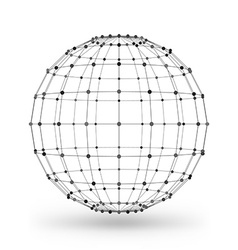 Wireframe polygonal geometric element Sphere with vector image