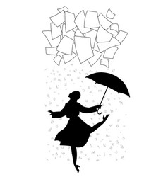 woman under a shower of words cloud of paper vector image