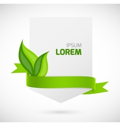 Banner with green ribbon and leaves vector image
