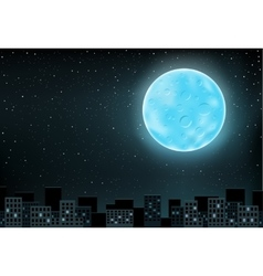 blue moon over city vector image