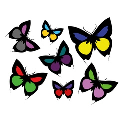 Collection of coloured butterflies vector image