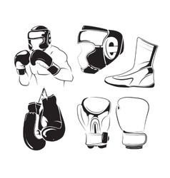 elements for vintage boxing emblems labels vector image