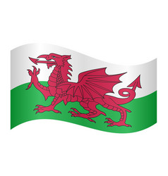 flag of wales waving on white background vector image vector image