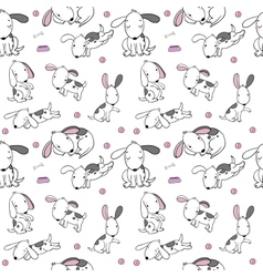 Seamless pattern with cartoon dogs Funny puppies vector image