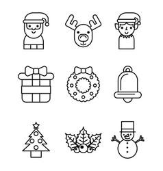 set icons merry christmas decoration celebration vector image