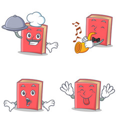 Set of red book character with chef trumpet vector