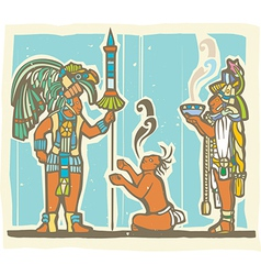 Mayan Warrior Captive and Priest vector image vector image