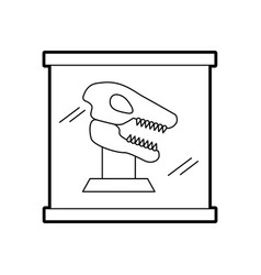 Museum dinosaur skeleton in urn glass vector