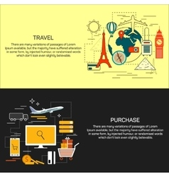 Travel and online shopping concept banners in line vector image