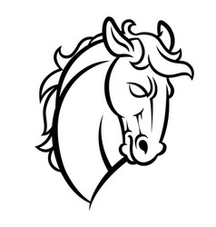mustang stallion horse head vector image