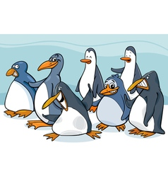 penguins group cartoon vector image