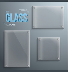 Set of Realistic Glass Plate Template Icons vector image