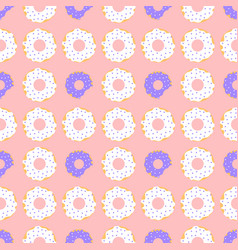 white and violet donuts with red background vector image vector image