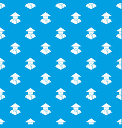 asian man in conical hat pattern seamless blue vector image