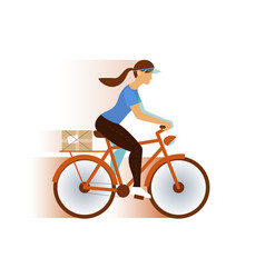 cute postman girl delivery mail or package email vector image vector image