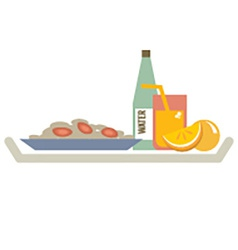 Food In Plate With Orange Juice And Water Bottle vector image