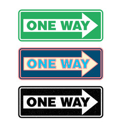 one way sign set vector image