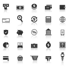 payment icons with reflect on white background vector image