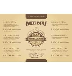 Restaurant cafe pizzeria menu template vector image vector image