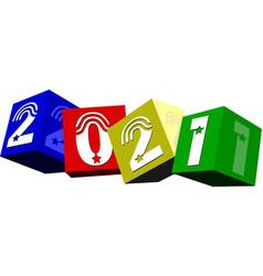 3d 2021 year vector