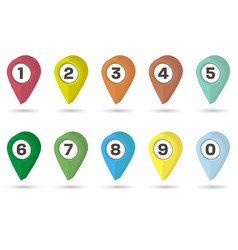 3d map point markers different color vector image