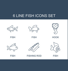6 fish icons vector