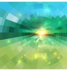 Abstract green technology concentric mosaic vector