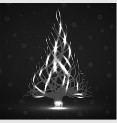 abstract neon christmas tree of wavy lines vector image