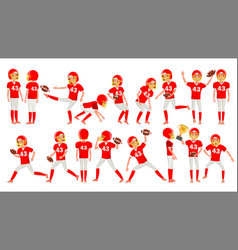 American football young man player red vector